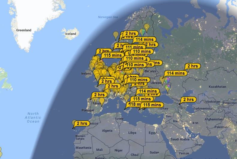 map of FT8 contacts by MX0SKR