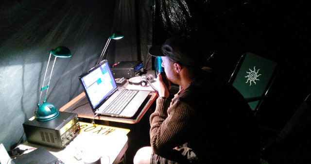 Stewart M0SDM operating at night
